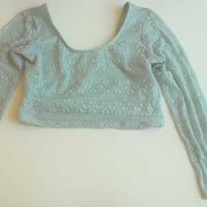 SZ S/M minty cropped long sleeve shrug Wet Seal